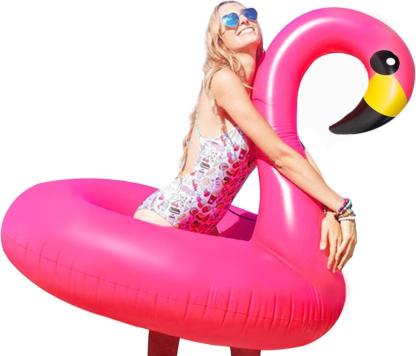 Flotador Flamenco Hinchable Grande, 116x96cm - Colchoneta Inflable Flamingo Juguetes para Piscina Playa Agua Verano Fiesta para Niños y Adultos