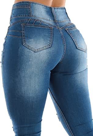 Moda Xpress Womens Juniors Mid High Waist Waisted Butt Lifting Ripped Distressed Skinny Jean