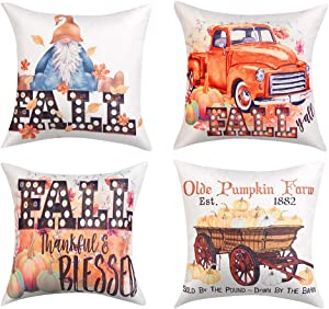 Lanpn Fall Decor Pillow Covers 24x24, Decorative Thanksgiving Harvest Farmhouse Autumn Pumpkin Truck Throw Pillow Shams Cover Cases Set of 4 for Couch