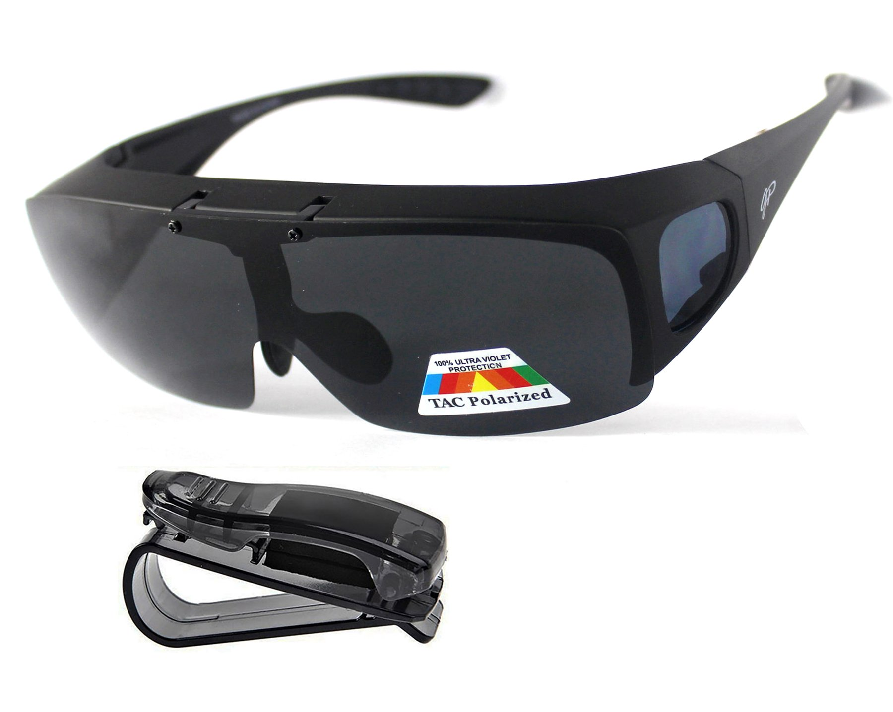Fit Over Polarized Sunglasses Flip Up Driving Glasses Wear Over Glasses Plus Car Clip Holder