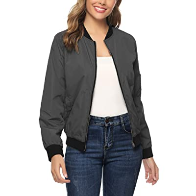 Aibrou Women Lightweight Bomber Jacket Long Sleeve Zip up Casual Coat with Pockets S-XXL at Women's Coats Shop