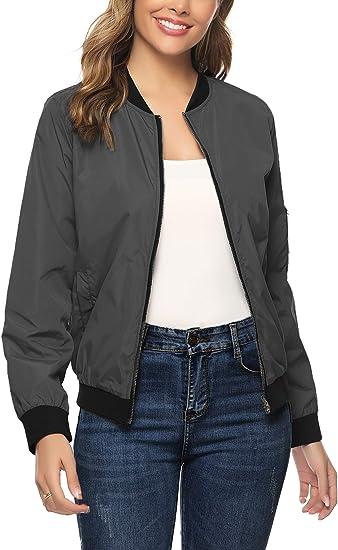 Women Multi-Pocket Zip Front Lightweight Bomber Jacket