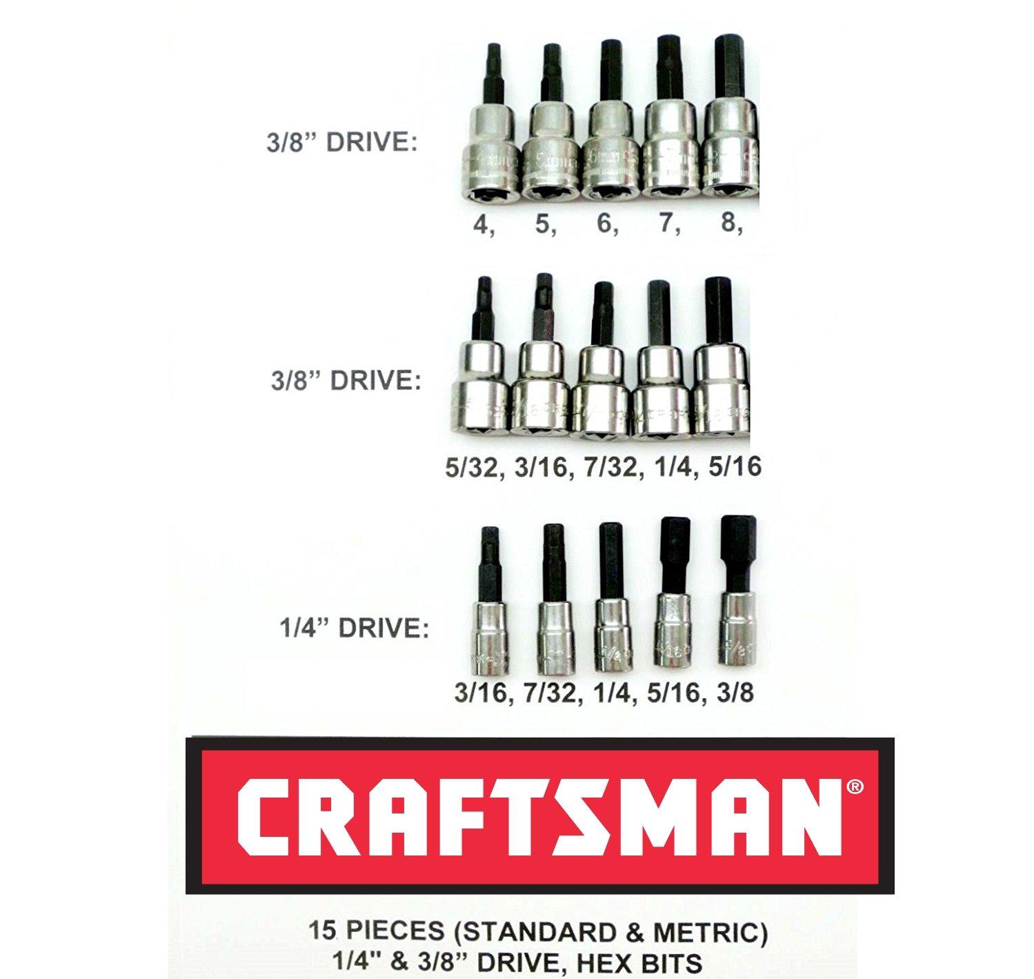 Craftsman 15 Piece 3/8'' & 1/4'' Drive Hex Bit Allen Socket Set