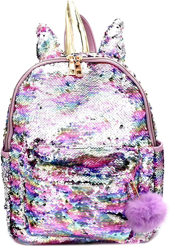 Cute Unique Multicolor Sequin Metallic Unicorn Horn Girls Womens Bling Large School Fashion Backpack Bookbag