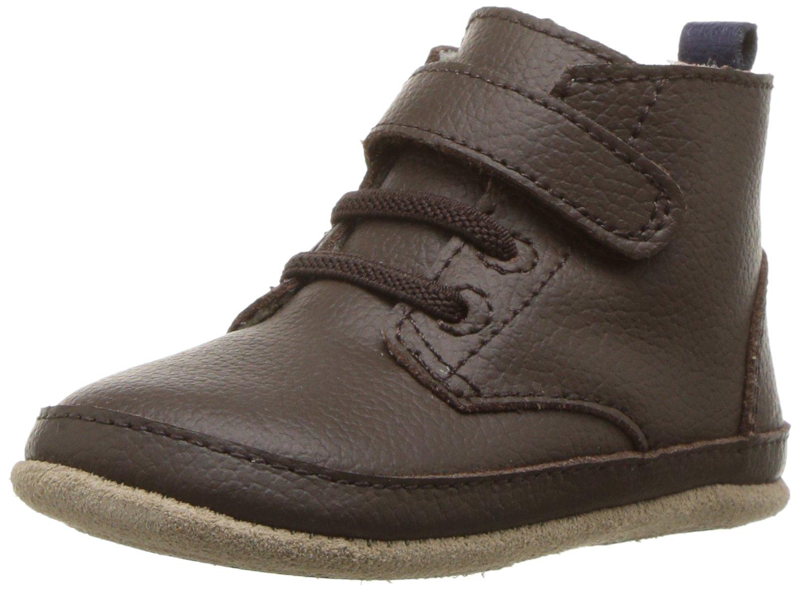 Robeez Boys' Nick Boot Crib Shoe, Nick Espresso, 9-12 Months M US Infant