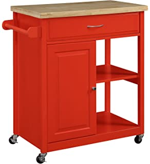 Oliver And Smith   Nashville Collection   Mobile Kitchen Island Cart On  Wheels   Red