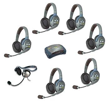 EARTEC hub7dmon – 7 persona sistema con 6 doble Ultralite – Auricular inalámbrico de auriculares de