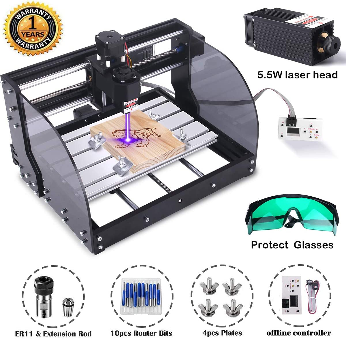 MYSWEETY DIY CNC 3018PRO-M 3 Axis CNC Router Kit with 5500mW 5.5W Module + PCB Milling, Wood Carving Engraving Machine with Offline Control Board + ER11 and 5mm Extension Rod