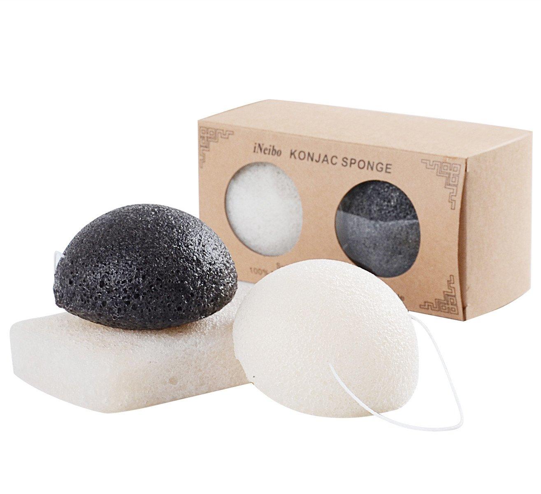 iNeibo spugna viso e corpo naturale konjac, spugne organiche con carbone di bambù, ipoallergenico delicato esfoliante, pulizia profonda (3 pezzi)
