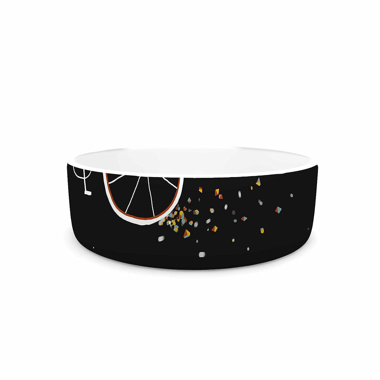 7\ KESS InHouse Anya Volk Bunny In Space  Red Fantasy Pet Bowl, 7