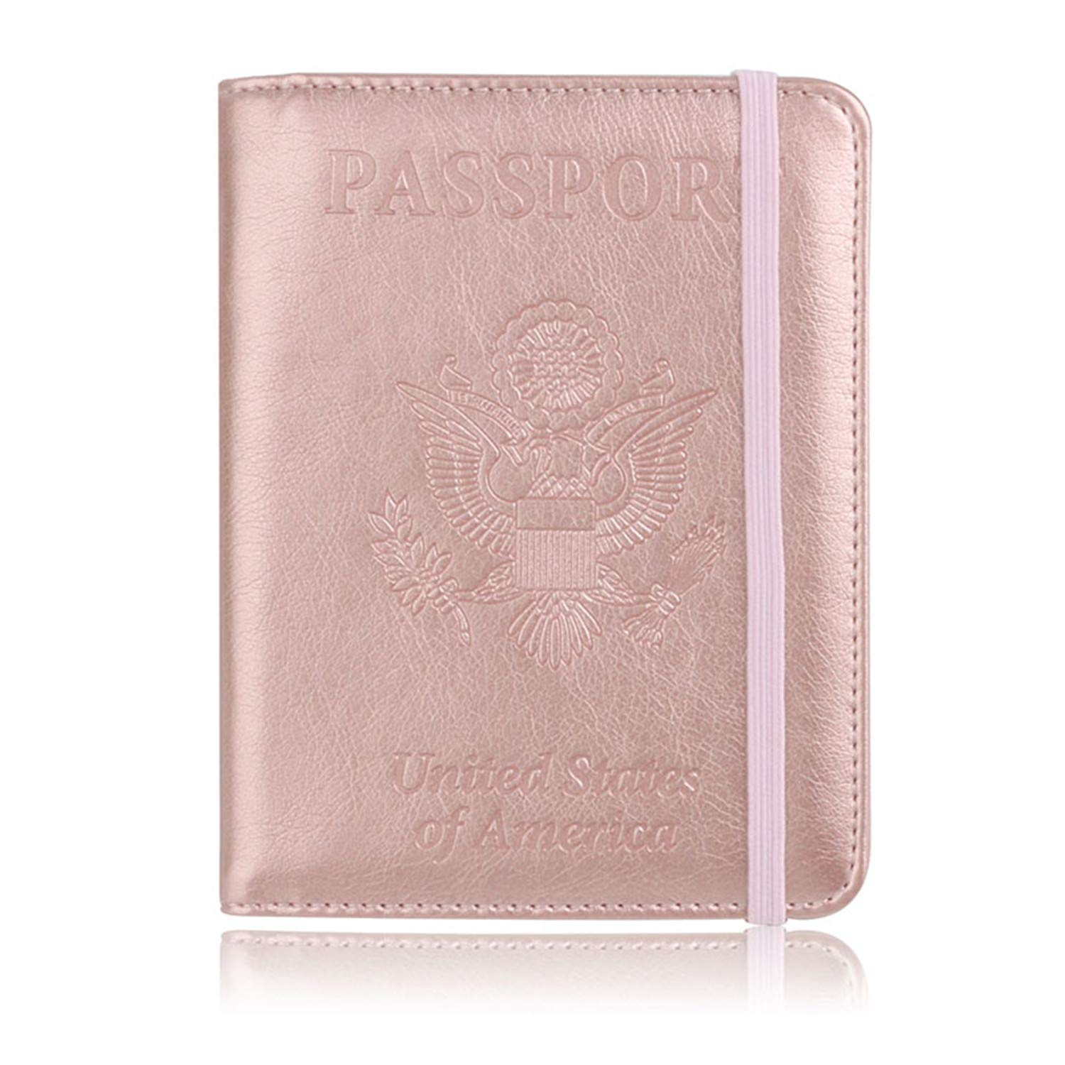 Fafalisa USA Passport Cover Waterproof Passport Holder Designer Travel Cover Case Designer Card Holder(Pink,-)