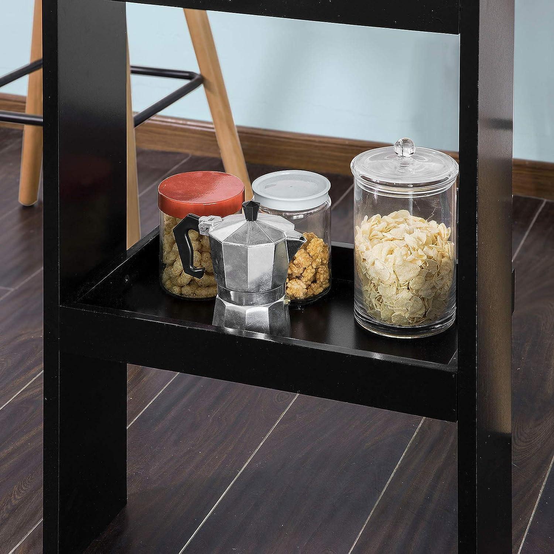 SoBuy® FWT55-Sch Table de Bar Murale Table Haute de Bar Mange-Debout Cuisine avec 2 étagères de ...