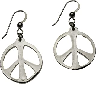 product image for Medium Peace Symbol Silver-dipped Earrings on French Hooks