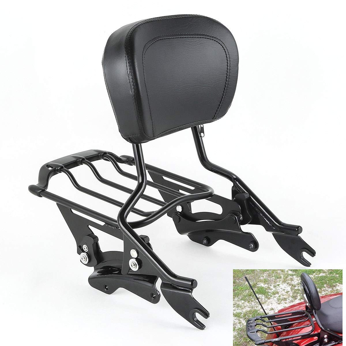 Chrome, Style D TCMT Detachable Passenger Backrest Sissy Bar With 2 Up Air Wing Luggage Rack 4 Point Docking Hardware Kits Fits For Harley Touring 2014-2019