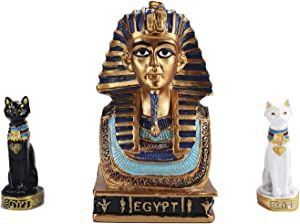 YJ Ancient Egyptian Small King TUT Collectible Figurine Kit with Cat God(1 Black+1 White) Bastet Statue Home Decoration Sculpture