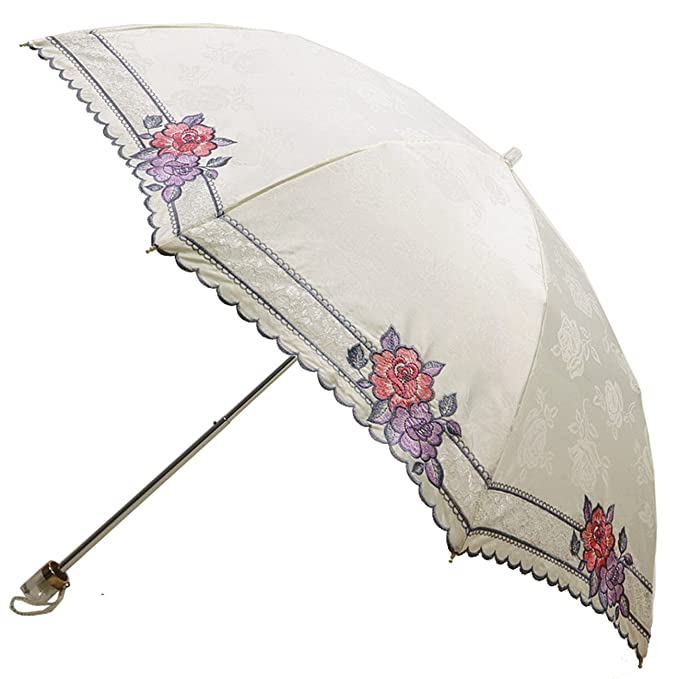 Victorian Inspired Womens Clothing Kung Fu Smith Women Flower Embroidery Sun Umbrella Parasol $59.99 AT vintagedancer.com