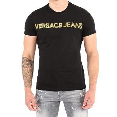 351689d29 Amazon.com: Versace Jeans RIC Slim Fit Stitched Logo Black T-Shirt ...