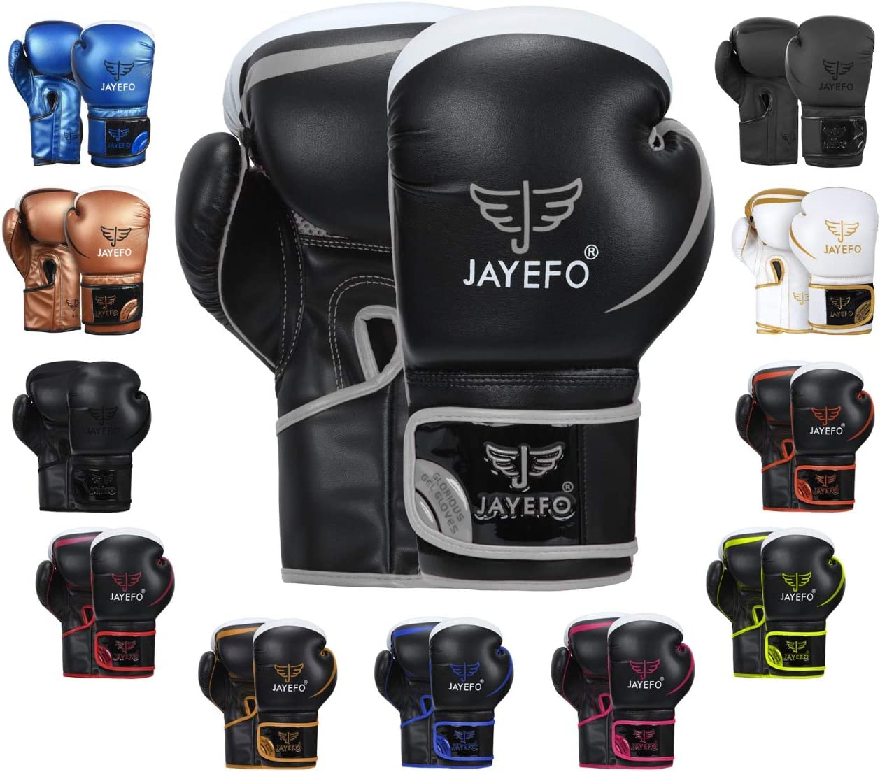 Jayefo Glorious Boxing Gloves Muay Thai Kick Boxing Leather Sparring Heavy Bag Workout MMA Pro Leather Gloves Mitts Work for Men & Women : Sports & Outdoors
