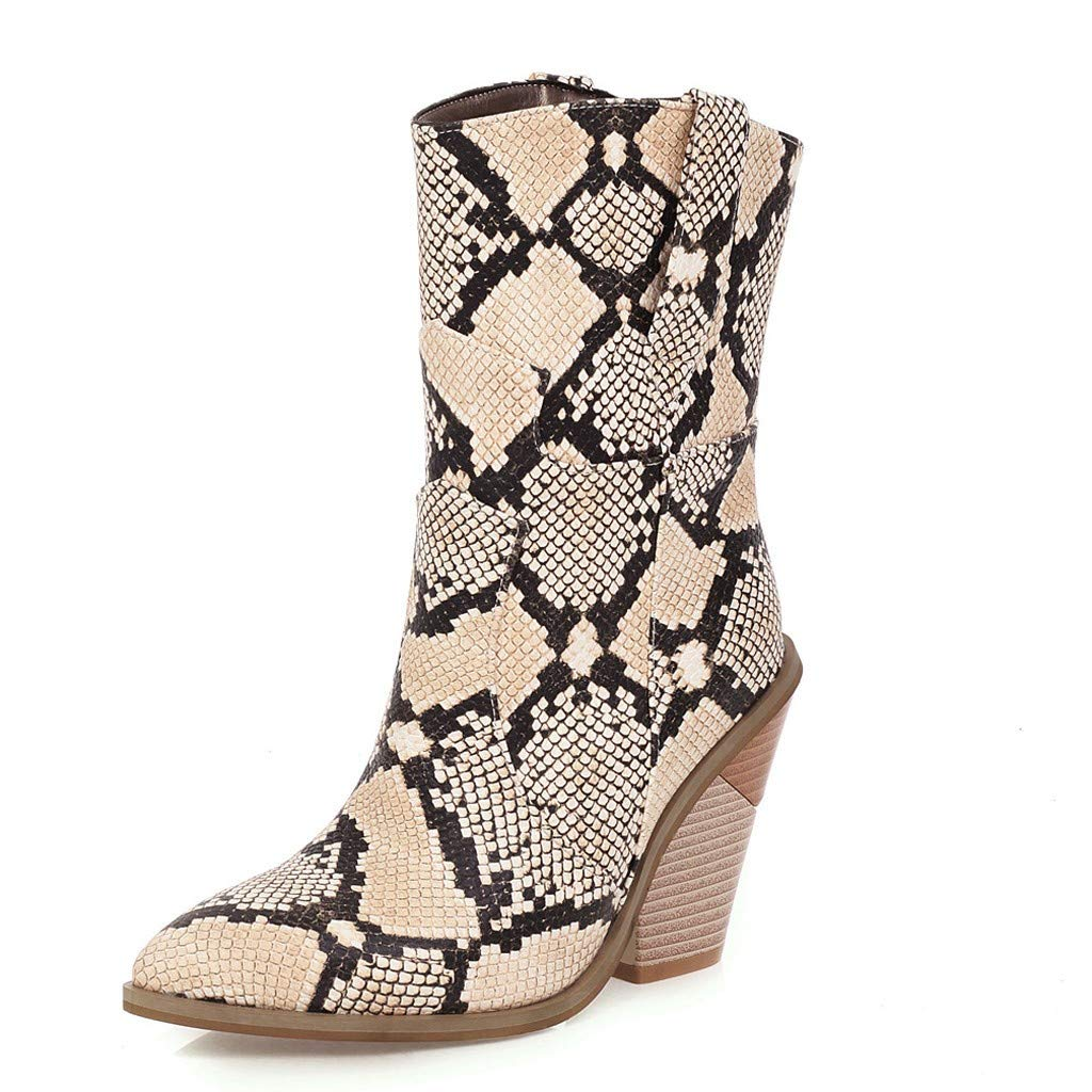 Vibola Wide Calf High Ankle Boots Wedge Heel Stylish Snake Print Pointed Toe Slip On Short Boots for Women Heels and Pumps by Vibola
