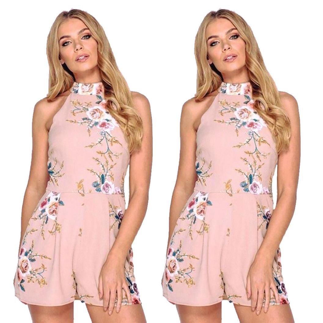 01aed18263 Amazon.com  Alixyz Summer Shorts Jumpsuit Women High Neck Floral Sleeveless  Mini Romper Playsuit  Clothing