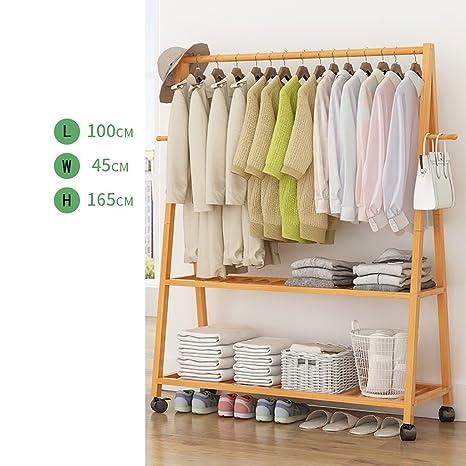 Amazon.com: Perchero de pared con soporte para ropa de bambú ...