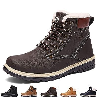8e7f151ed224 SIXSPACE Herren Winterstiefel Warm Gefütterte Winterschuhe Outdoor  Schneestiefel Winter Boots (Dunkelbraun 40 EU)