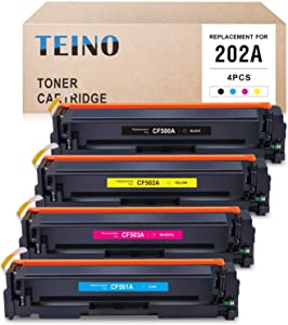 TEINO Compatible Toner Cartridges Replacement for HP 202A CF500A CF501A CF502A CF503A for Color Laserjet Pro MFP M281fdw M281cdw M254dw M280nw (Black, Cyan, Magenta, Yellow, 4 Pack)