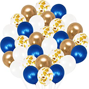 Royal Blue Balloons and Navy Gold White Balloons -Pack of 50, Navy and Gold Balloon Arch Kit   Navy Blue Balloon Garland   Metallic Dark Blue Balloons for Birthday Decorations Baby Shower Graduation