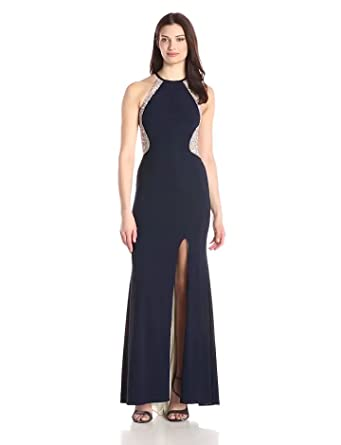 Xscape Womens Long ITY with Caviar Bead Back, Navy/Nude/Silver, ...