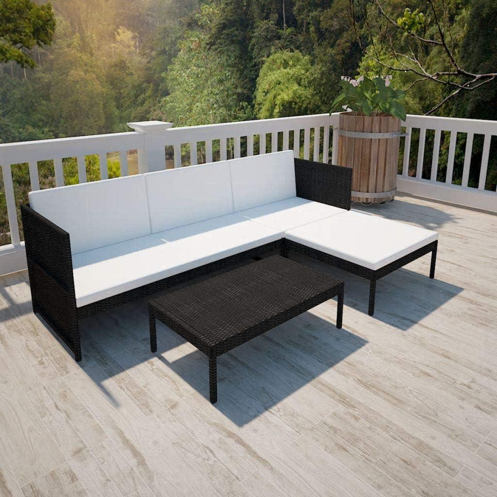 Namotu vidaXL 3-TLG. Garten-Lounge-Set mit Auflagen Poly Rattan Schwarz