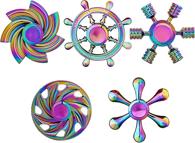 Relief ADHD Anxiety Autism Stainless Steel Bearing 3 Min High Speed Mute Spin FISHS CHOICE Fidget Spinner Spin Stability Alloy Finger Spin Cube Gold