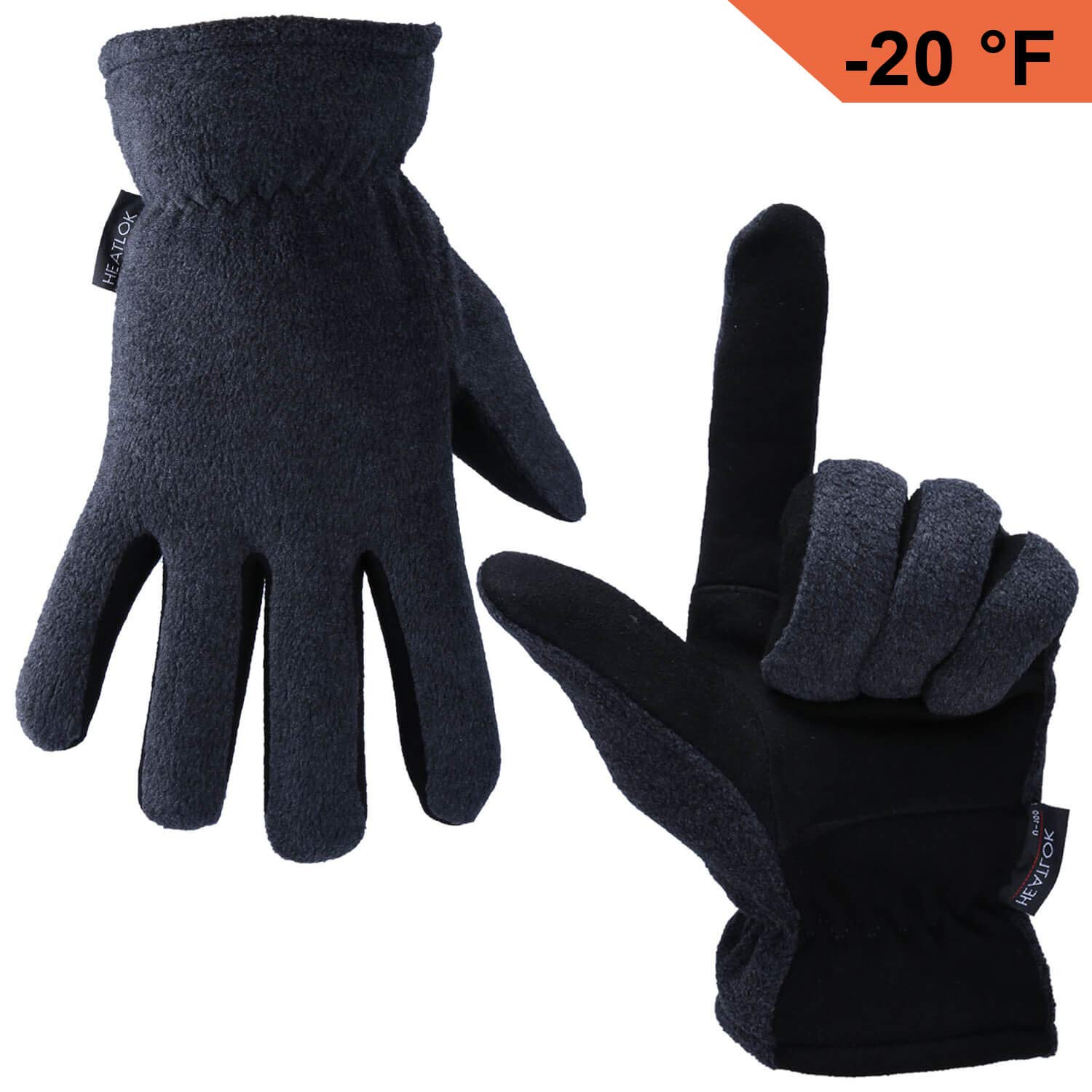 OZERO Deerskin Suede Leather Palm and Polar Fleece Back with Heatlok Insulated Cotton Layer Thermal Gloves, Small - Grey-Black