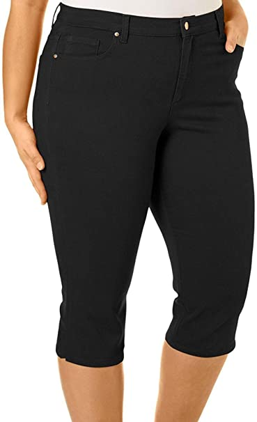 76c26aa49c777 KB26 Womens Plus Size Stretch HIGH Waist Blue Black Capri Denim Jeans Pants  (14