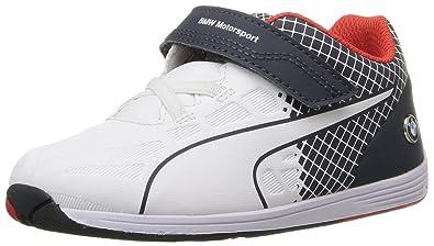 PUMA BMW MS Evospeed Velcro Kids Sneaker (Toddler), Team Blue White, 4