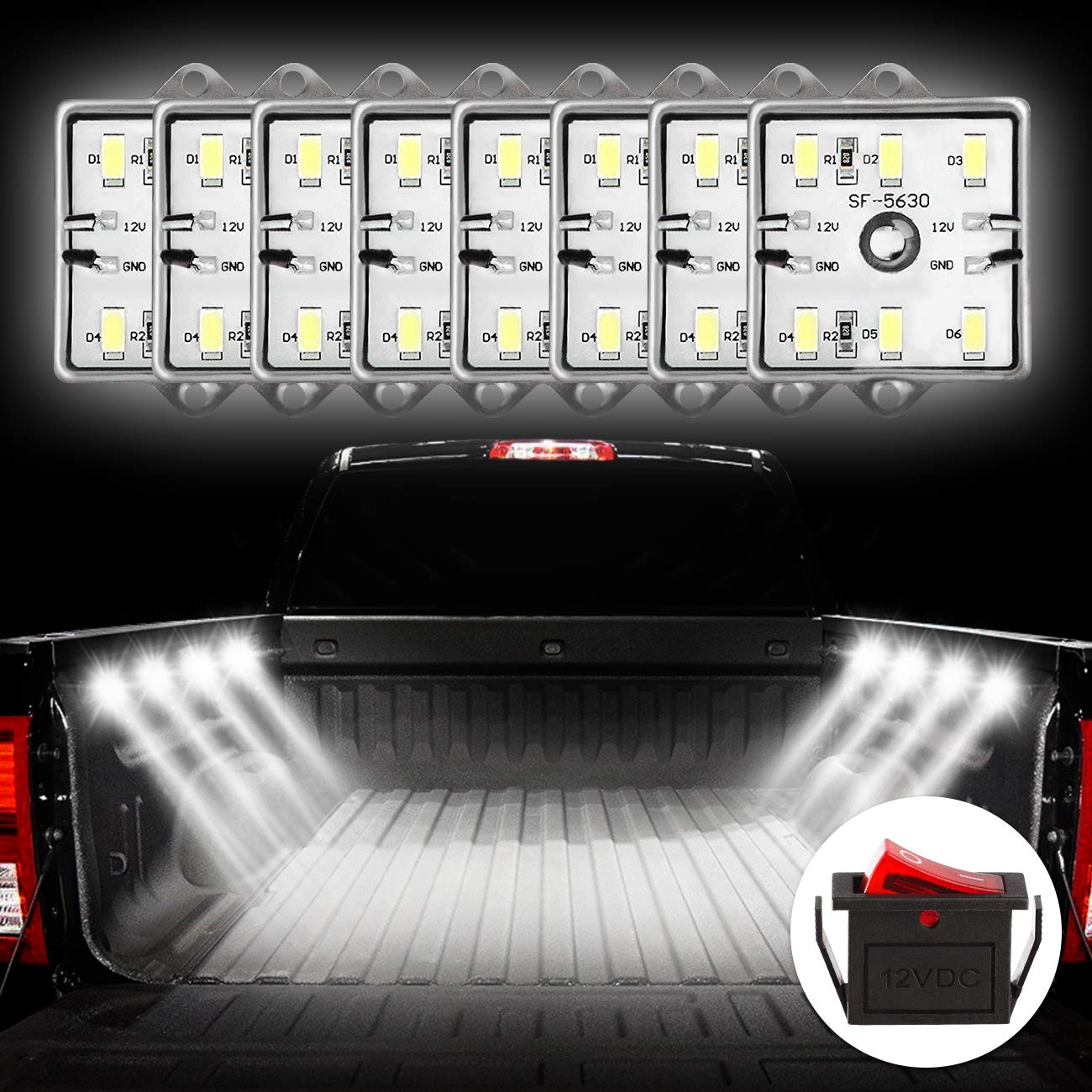 Favoto Truck Bed Light Van Interior Light RV Interior Lights 5730 SMD Super Bright On/Off Switch Included IP67 Waterproof LED Ceiling Lights for Van RV Boats Caravans Trailers (8 Modules) by Favoto