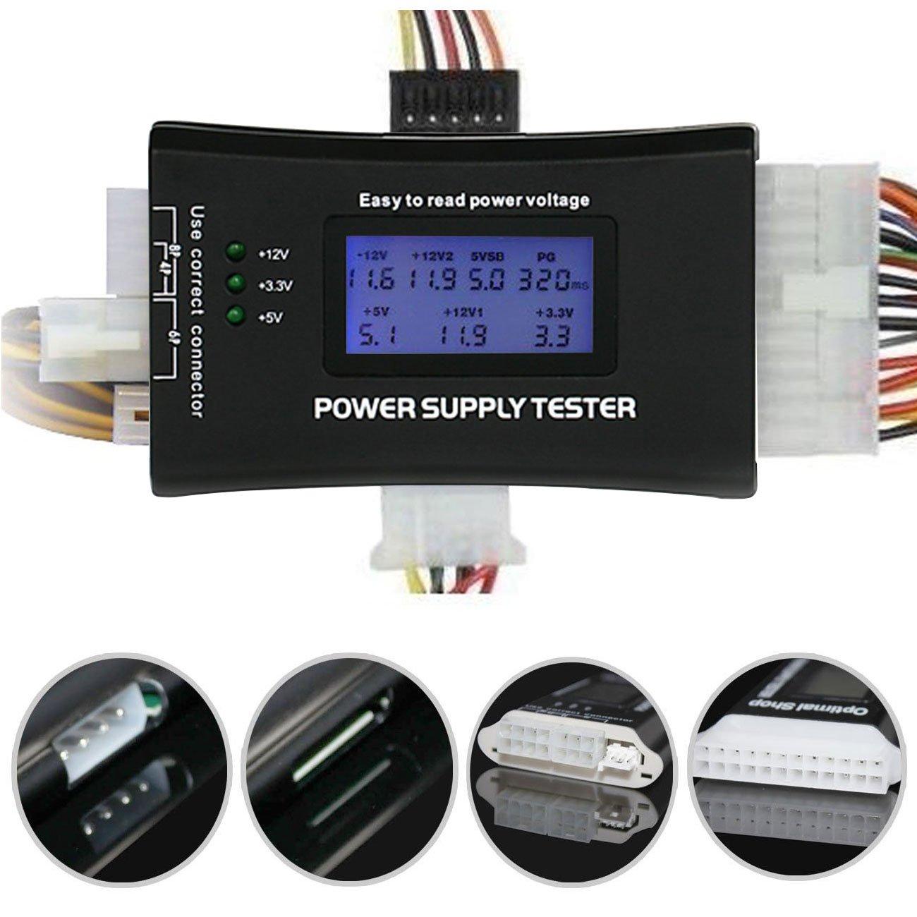 EEEKit Power Supply Tester PC Computer 20/24 Pin ATX BTX ITX PSU SATA HDD Connectors Avoid Computer Equipment Damage Indicate Status Voltage