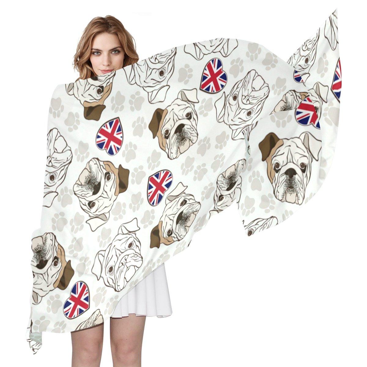 COOSUN Bulldog Inglés Ligera bufanda de seda larga de la bufanda del abrigo del mantón de la Mujer 90x180? CM? multicolor: Amazon.es: Ropa y accesorios