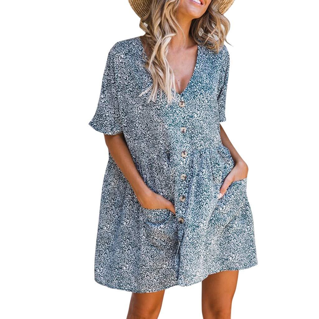Uscharm Womens Sleeveless Shirts V Neck Short Sleeve Dress Floral Print Casual Dresses Mini Sundress with Pocket (Navy, L)
