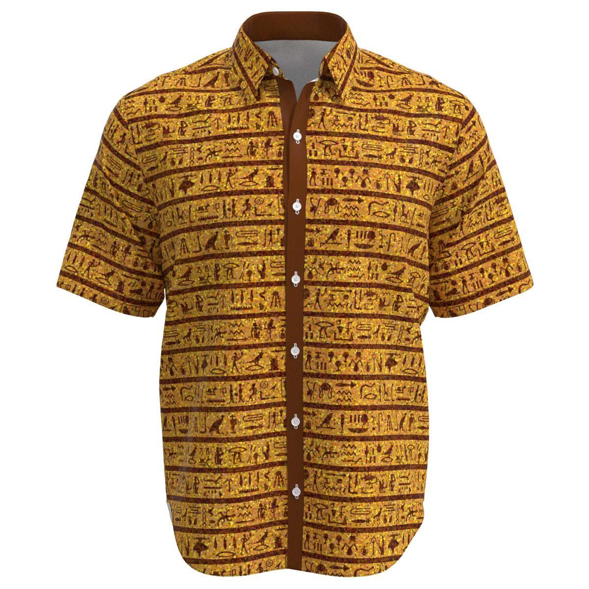 EightyThree XYZ Egyptian Ancient Hieroglyphs Men Short Sleeve Button Shirt Size XS-3XL