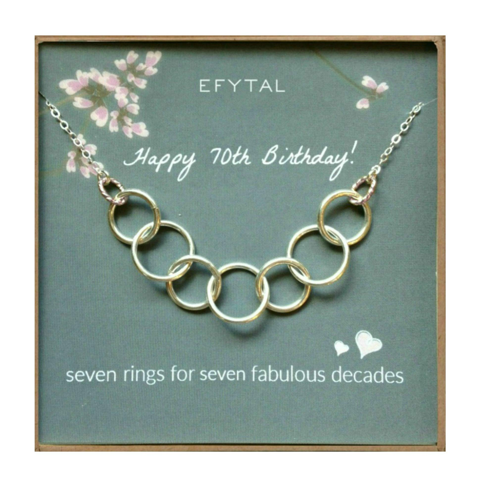 EFYTAL Happy 70th Birthday Gifts for Women Necklace, Sterling Silver 7 Rings Seven Decades Necklaces Gift Ideas by EFYTAL