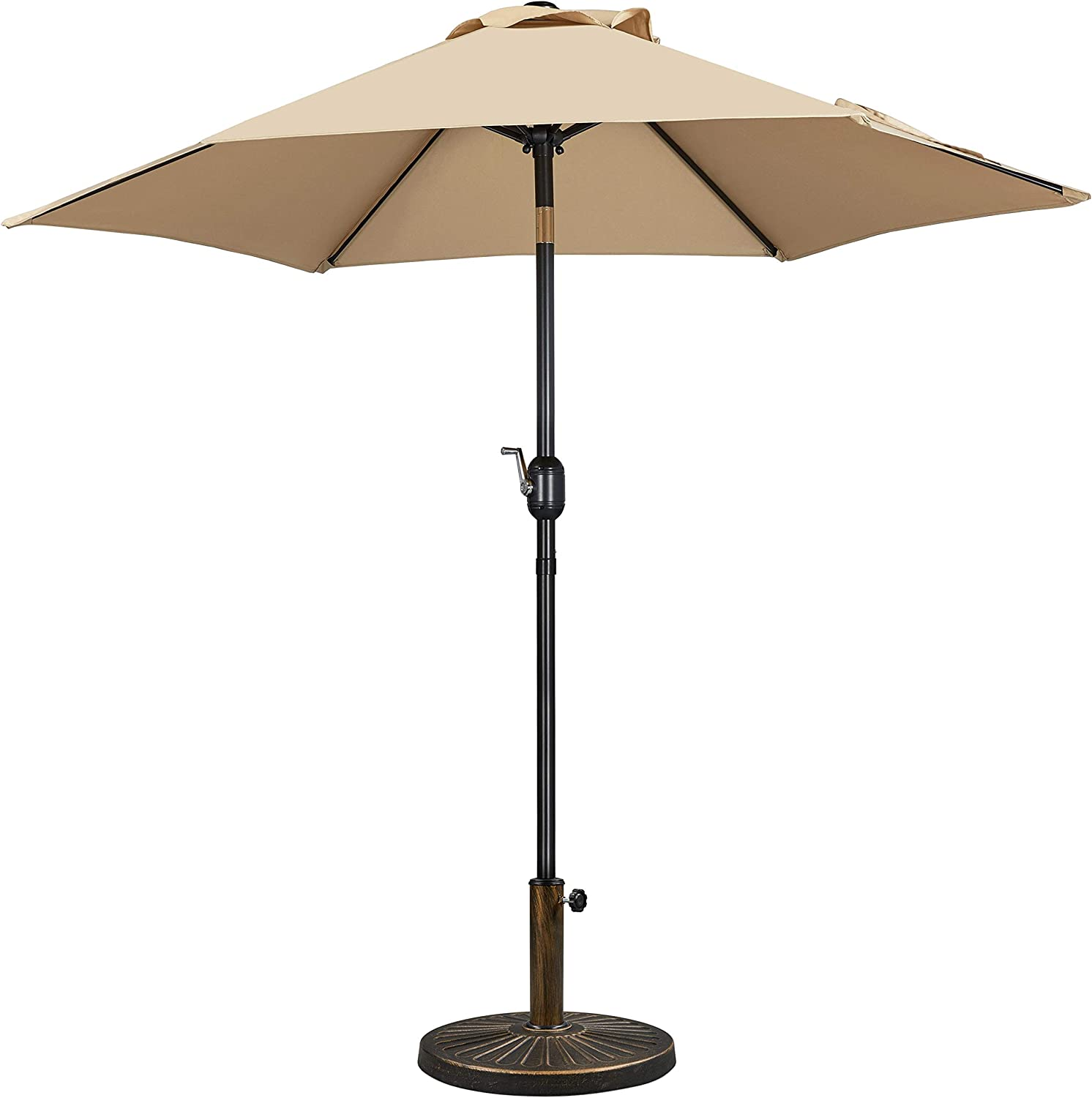Yaheetech 7.5/9FT Garden Table Umbrella with 22lbs Base Stand, Patio Market Umbrella with Push Button Tilt,Crank and 8 Sturdy Ribs, Aluminum Outdoor Patio Umbrella Base Included Heavy Duty