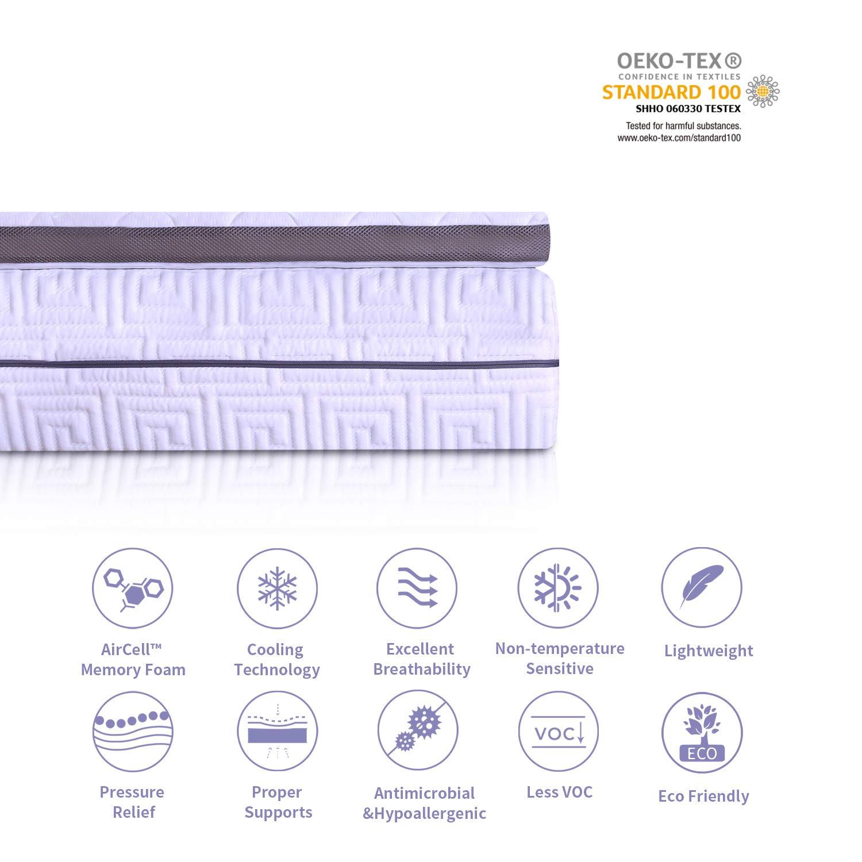 Umi Essentials Surmatelas M/émoire de Forme Orthop/édique Topper Ergonomique,Tissu Anti-d/érapant,4 Elastiques,/Écimeur de Matelas de Mousse de M/émoire avec 7 Support de Zone,90 par 200 de 6cm