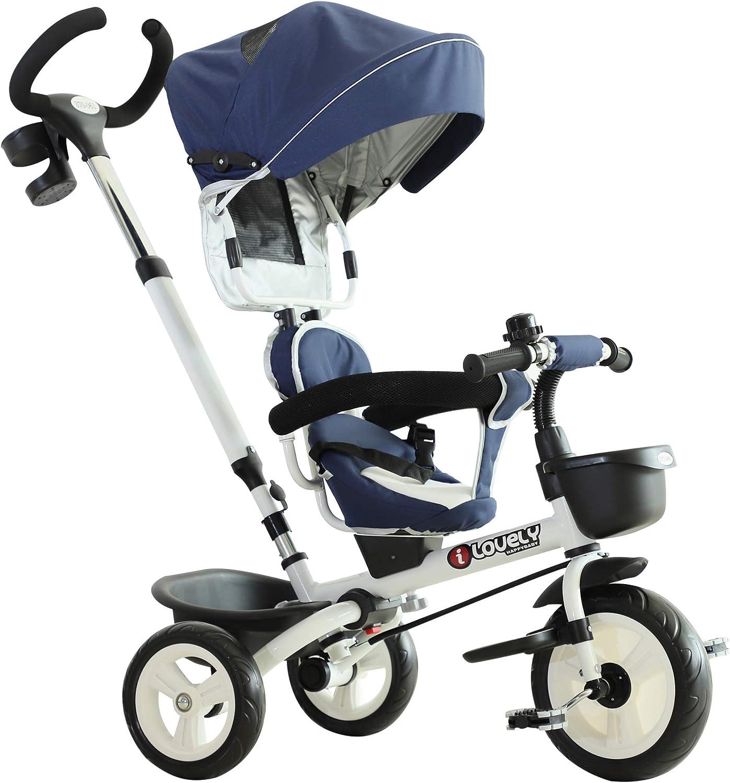 HOMCOM 3 Wheels Children Tricycle Ride-on Toy Kids Handle Storage Canopy