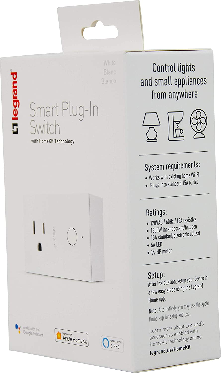 No Wiring Required, Works with Apple HomeKit Legrand-On-Q HKRP20 Smart Plug  WiFi Outlet Dimmer Switch Alexa & Google Assistant Outlet SwitchesElets Technomedia