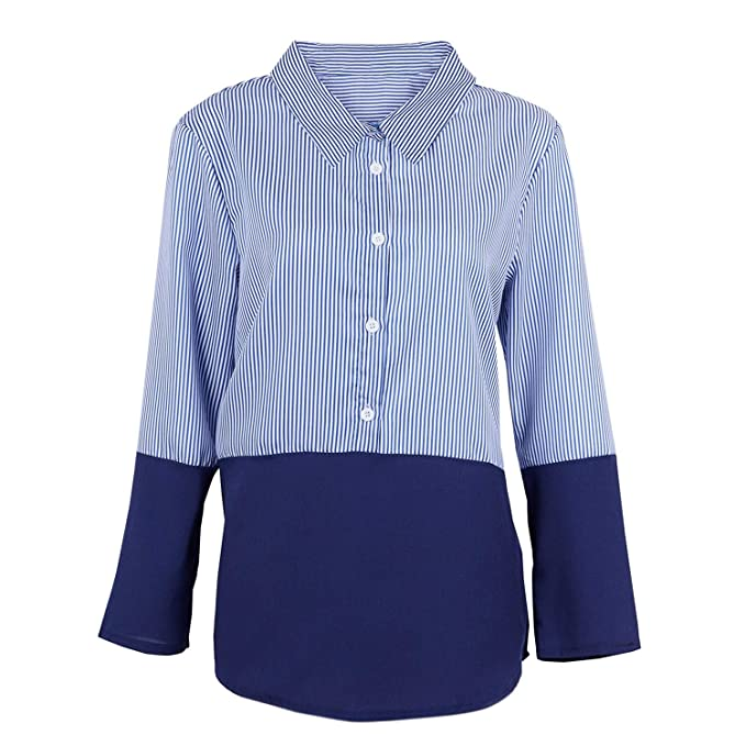 fa9d65e18 SODIAL 5X-Large Blue Women Fashion Plus Size Lapel Striped Splice Blouse  Shirt Ladies Casual Loose Long Sleeve Button Up Shirt Tops Red S   Amazon.in  ...