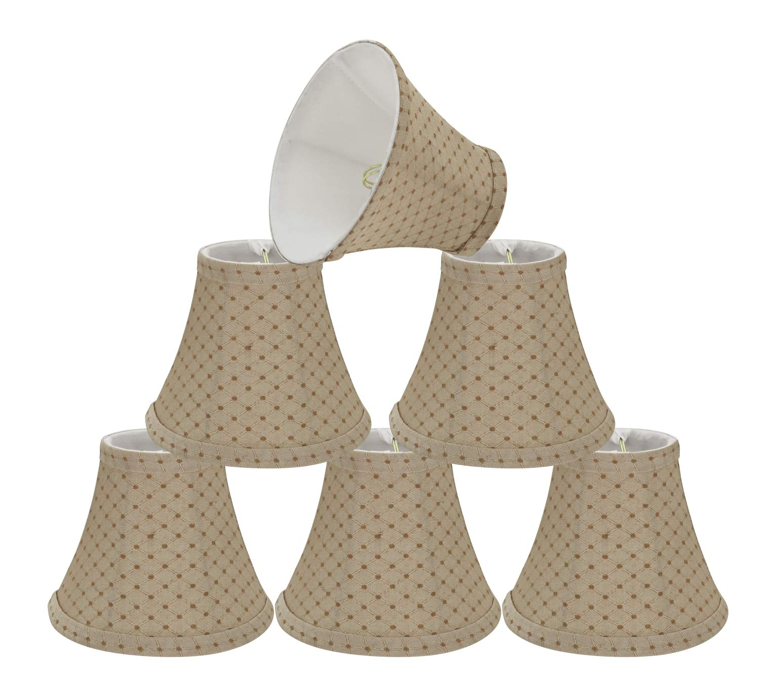 Aspen Creative 30072-6 Small Bell Shape Chandelier Set (6 Pack), Transitional Design in Beige, 6'' Bottom Width (3'' x 6'' x 5'') Clip ON LAMP Shade