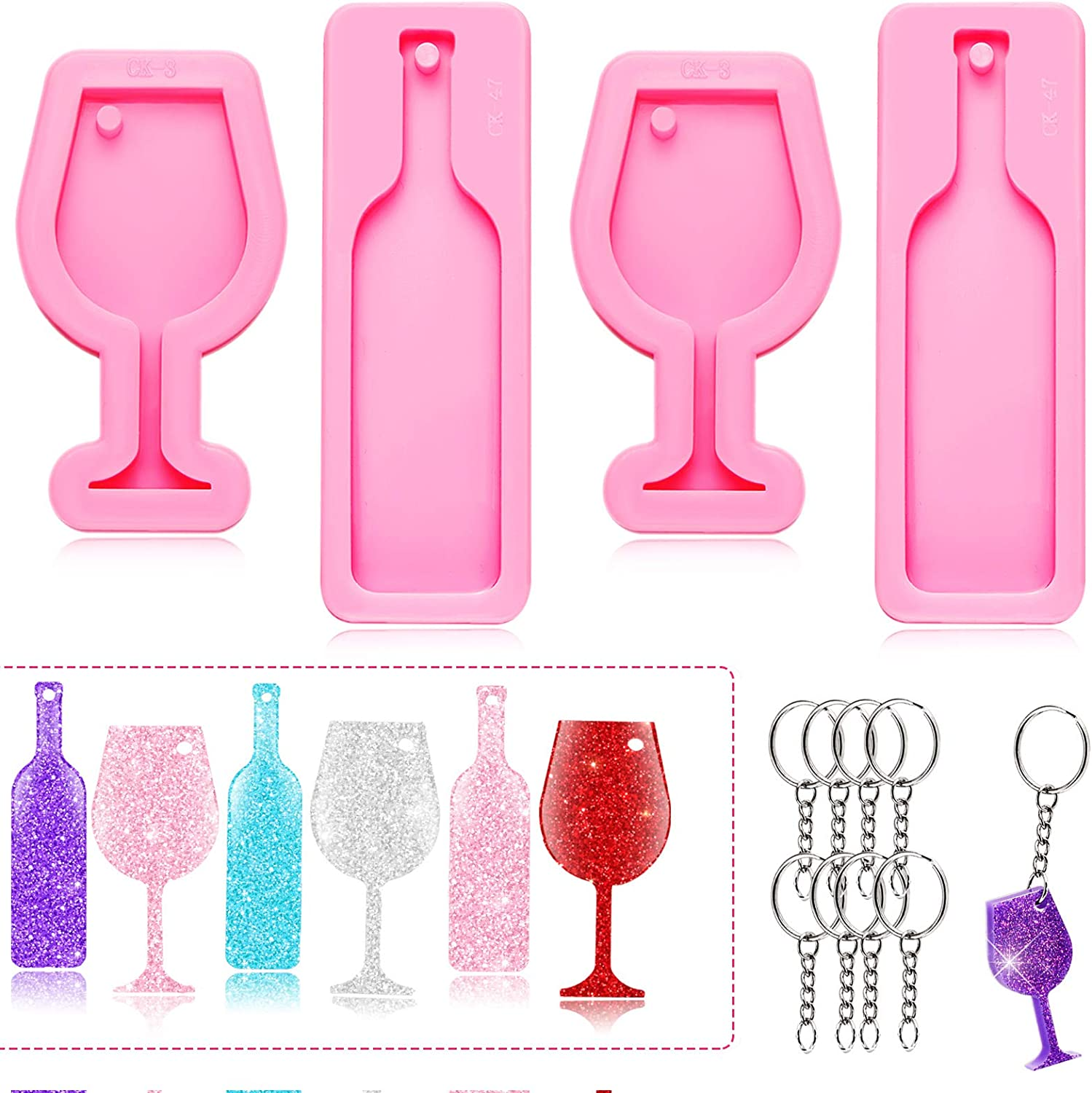 4 Pieces Mini Wine Glass Keychain Mold Goblet Tumbler Wine Bottle Shape Silicone Fondant Mold for DIY Pendant Trinket Luggage Tag Pudding Jelly Shots Desserts Candy Cake Topper Decoration