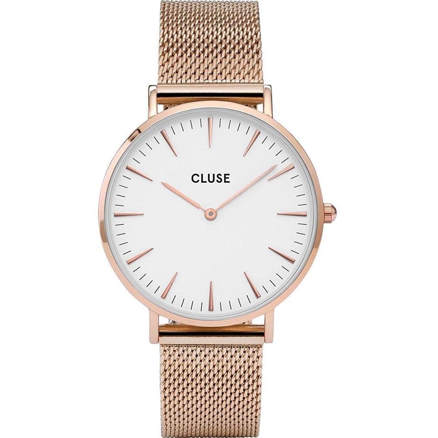 Cluse Women's La Boheme 38mm Rose Gold-Tone Steel Bracelet Metal Case Quartz White Dial Watch CL18112