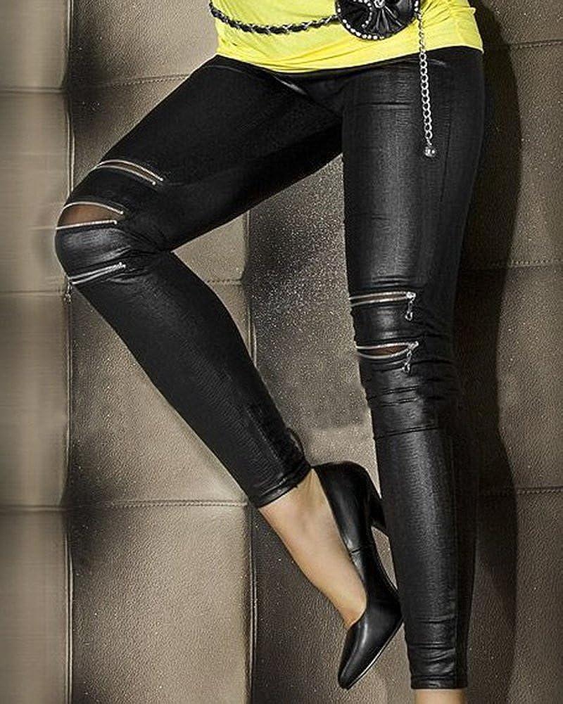 79f7a8e6840f5 Qitun Leggings Femme Similicuir Pantalons Elasticite Fermeture Eclair Slim  en Imitation Cuir Noir  Amazon.fr  Vêtements et accessoires