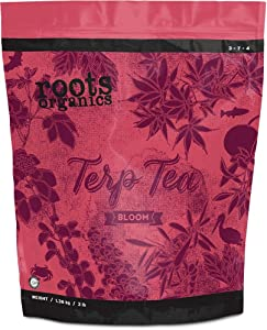 Roots Organics Terp Tea Bloom Natural Dry Gardening Fertilizer Micronized Flowering Nutrient for Large and Small Gardens, 3 Pound Bag
